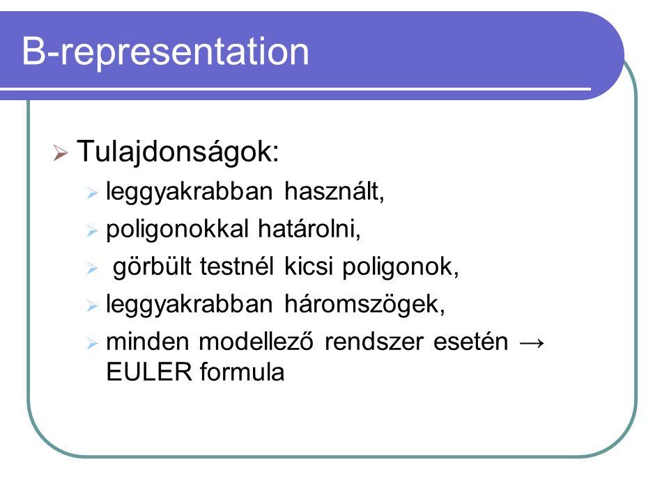 B-representation  Tulajdonságok:  leggyakrabban használt,  poligonokkal határolni,  görbült testnél kicsi poligonok,  leggyakrabban háromszögek,  minden modellező rendszer esetén → EULER formula