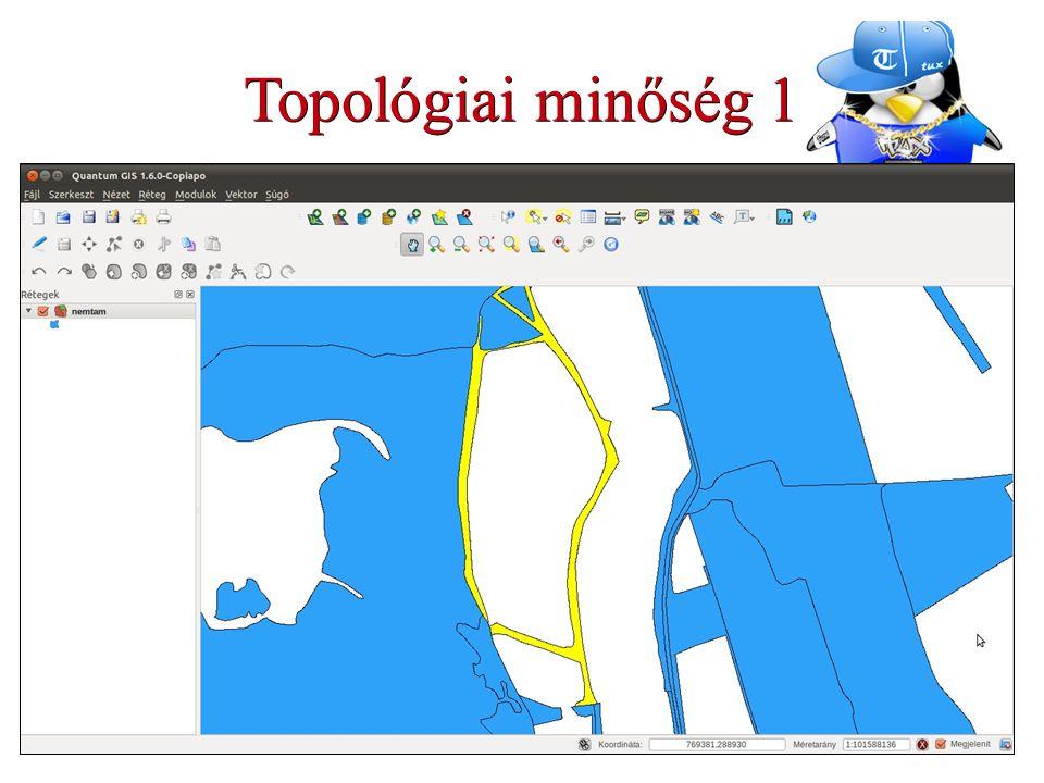 Topológiai minőség 1 Keresni kell: Túl rövid vonalakat Átfedő vonalakat Túlnyúló vagy nem kapcsolódó vonalakat Furcsa poligonokat Használt funkció: Automatikus geometria ellenőrzés