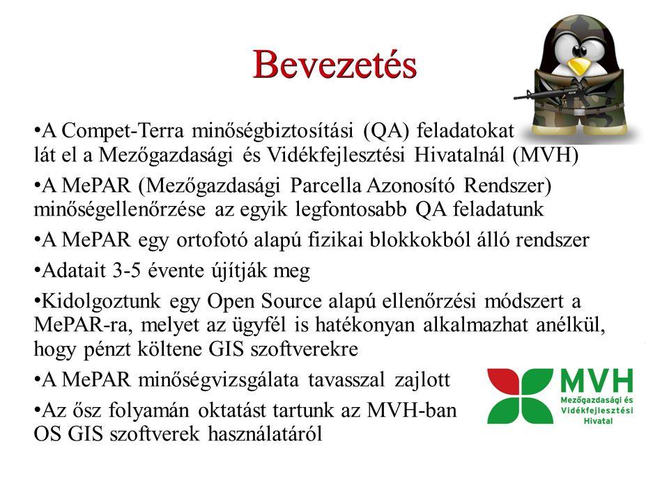 Bevezetés A Compet-Terra minőségbiztosítási (QA) feladatokat lát el a Mezőgazdasági és Vidékfejlesztési Hivatalnál (MVH) A MePAR (Mezőgazdasági Parcella Azonosító Rendszer) minőségellenőrzése az egyik legfontosabb QA feladatunk A MePAR egy ortofotó alapú fizikai blokkokból álló rendszer Adatait 3-5 évente újítják meg Kidolgoztunk egy Open Source alapú ellenőrzési módszert a MePAR-ra, melyet az ügyfél is hatékonyan alkalmazhat anélkül, hogy pénzt költene GIS szoftverekre A MePAR minőségvizsgálata tavasszal zajlott Az ősz folyamán oktatást tartunk az MVH-ban OS GIS szoftverek használatáról