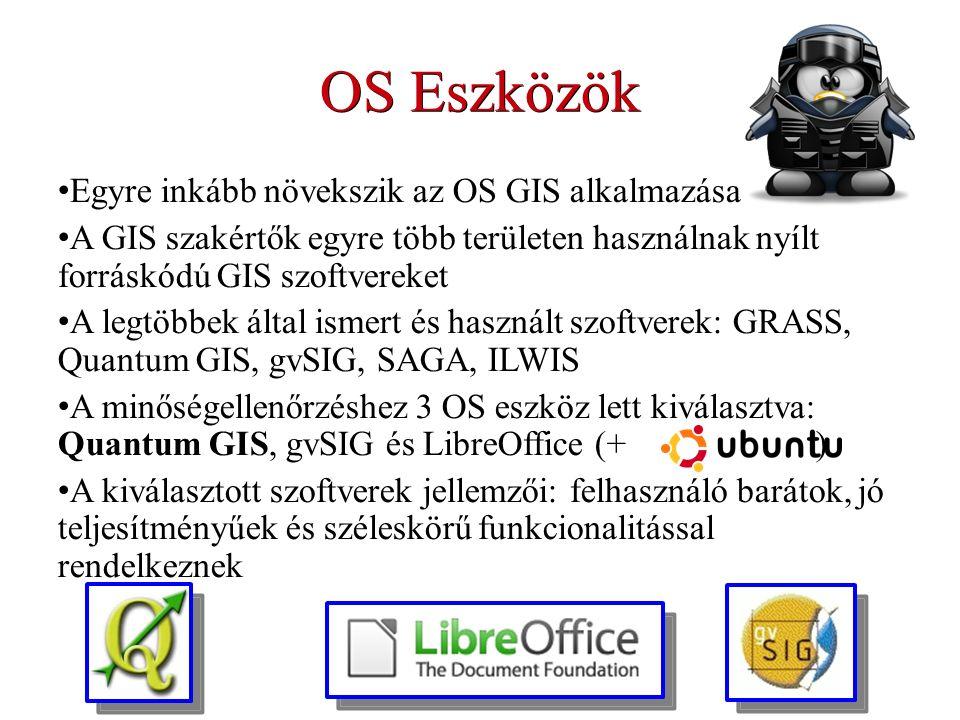 OS Eszközök Egyre inkább növekszik az OS GIS alkalmazása A GIS szakértők egyre több területen használnak nyílt forráskódú GIS szoftvereket A legtöbbek által ismert és használt szoftverek: GRASS, Quantum GIS, gvSIG, SAGA, ILWIS A minőségellenőrzéshez 3 OS eszköz lett kiválasztva: Quantum GIS, gvSIG és LibreOffice (+ ) A kiválasztott szoftverek jellemzői: felhasználó barátok, jó teljesítményűek és széleskörű funkcionalitással rendelkeznek