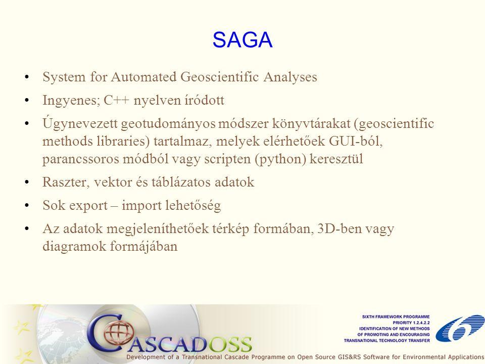 SAGA System for Automated Geoscientific Analyses Ingyenes; C++ nyelven íródott Úgynevezett geotudományos módszer könyvtárakat (geoscientific methods l