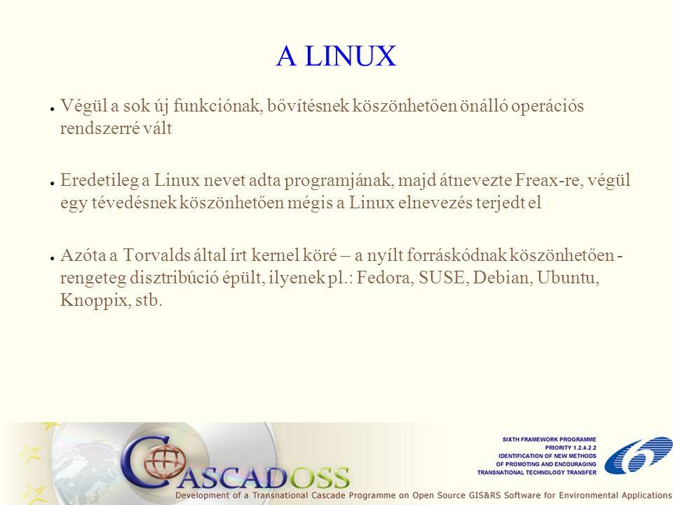 A LINUX ● Végül a sok új funkciónak, bővítésnek köszönhetően önálló operációs rendszerré vált ● Eredetileg a Linux nevet adta programjának, majd átnev