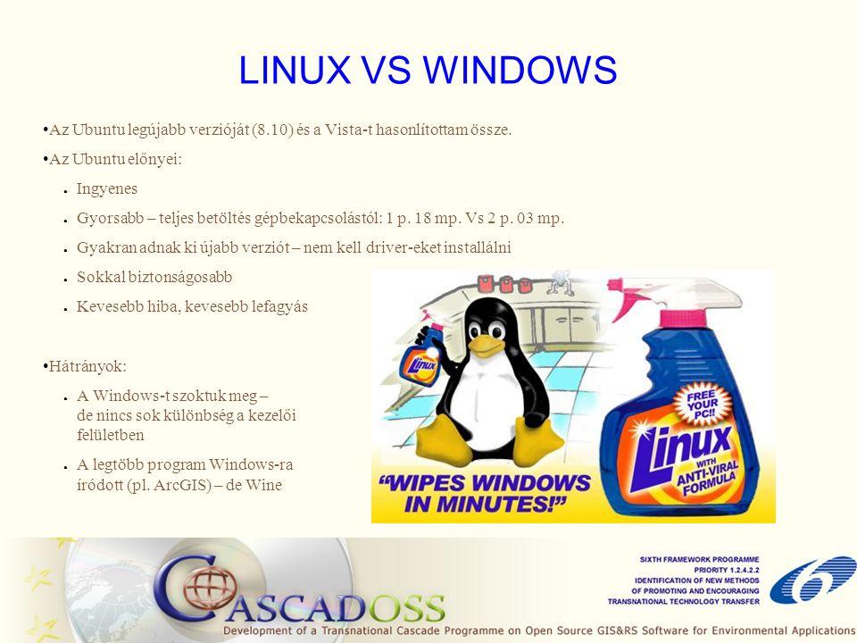 LINUX VS WINDOWS Az Ubuntu legújabb verzióját (8.10) és a Vista-t hasonlítottam össze. Az Ubuntu előnyei: ● Ingyenes ● Gyorsabb – teljes betöltés gépb