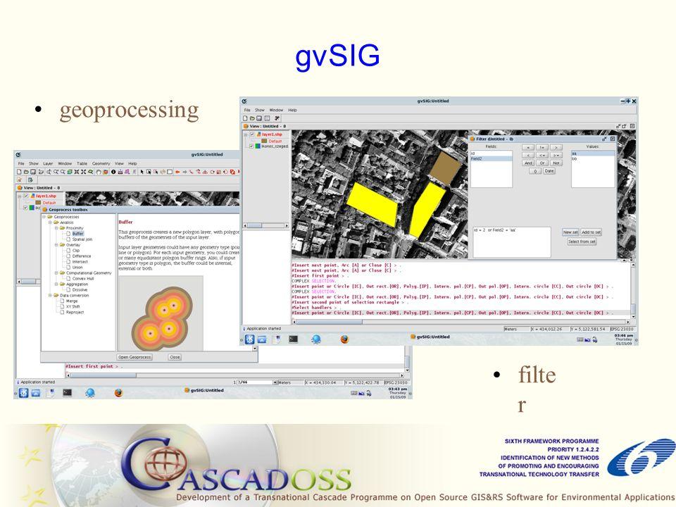 SAGA System for Automated Geoscientific Analyses Ingyenes; C++ nyelven íródott Úgynevezett geotudományos módszer könyvtárakat (geoscientific methods libraries) tartalmaz, melyek elérhetőek GUI-ból, parancssoros módból vagy scripten (python) keresztül Raszter, vektor és táblázatos adatok Sok export – import lehetőség Az adatok megjeleníthetőek térkép formában, 3D-ben vagy diagramok formájában