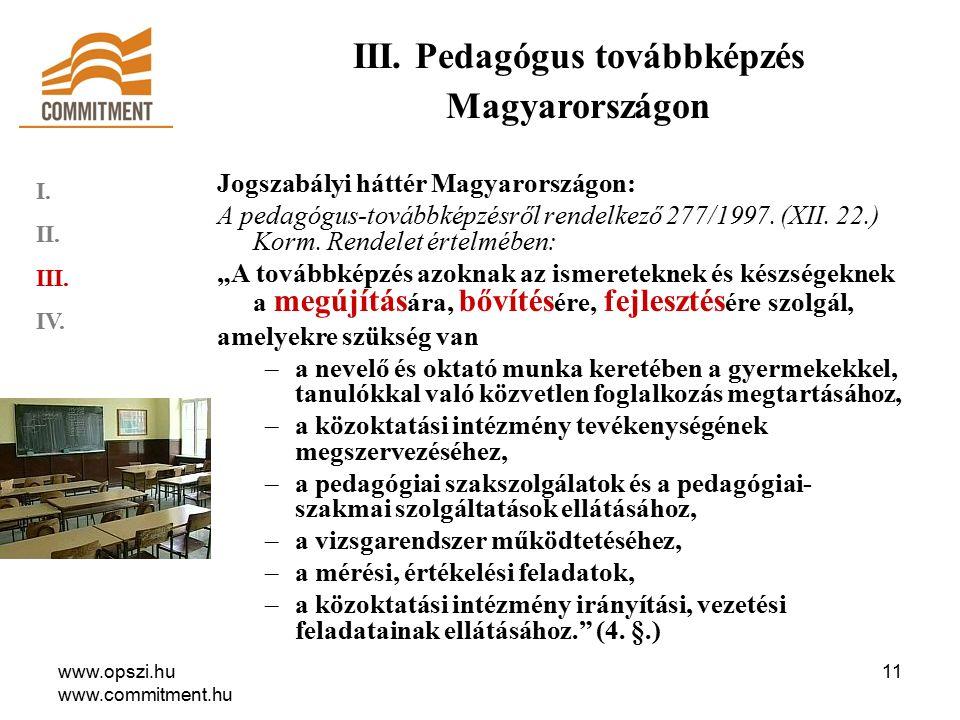 www.opszi.hu www.commitment.hu 11 Jogszabályi háttér Magyarországon: A pedagógus-továbbképzésről rendelkező 277/1997.