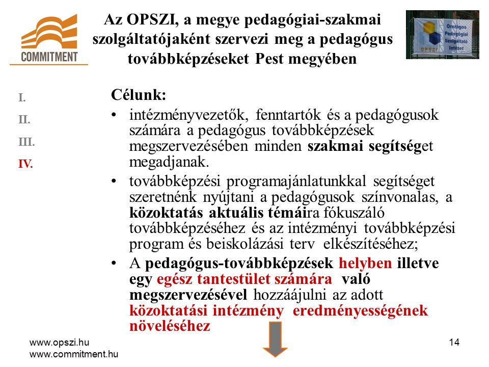 www.opszi.hu www.commitment.hu 14 Célunk: intézményvezetők, fenntartók és a pedagógusok számára a pedagógus továbbképzések megszervezésében minden szakmai segítséget megadjanak.