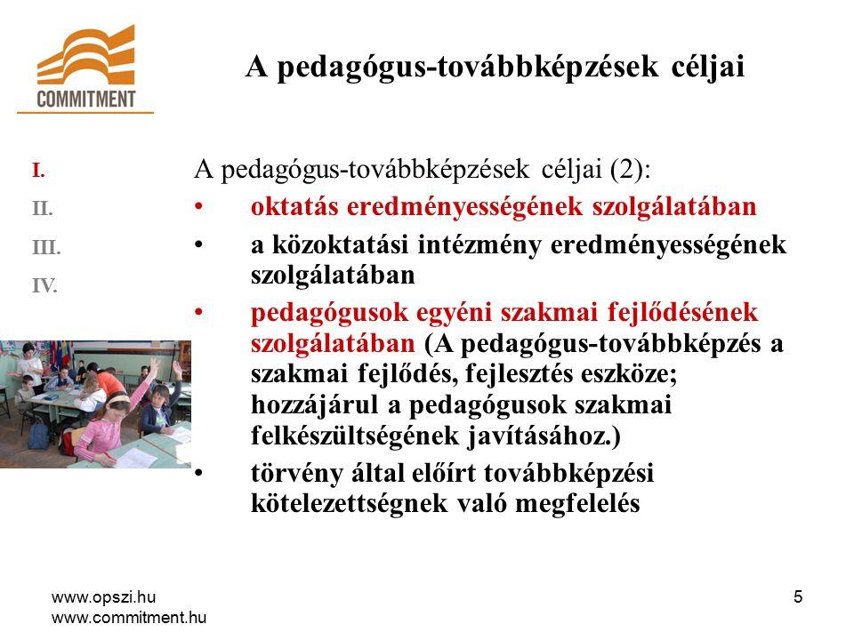 www.opszi.hu www.commitment.hu 16 Az OPSZI, a megye pedagógiai-szakmai szolgáltatójaként szervezi meg a pedagógus továbbképzéseket Pest megyében Kihelyezett képzések tantestületek, intézmények, intézményi társulások, kistérségek pedagógus csoportjai számára.