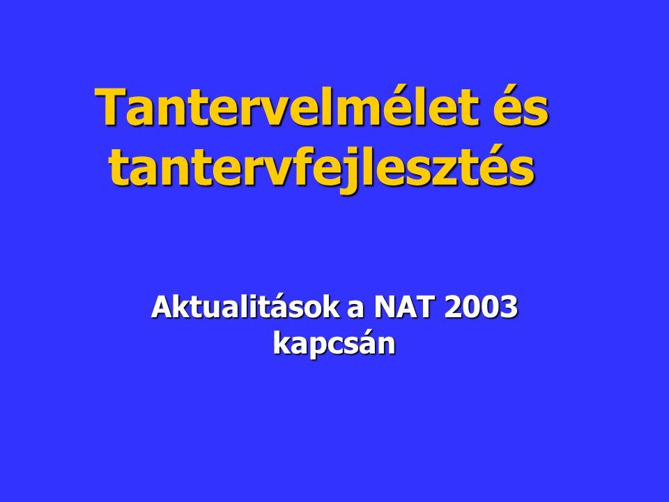 Tantervelmélet és tantervfejlesztés Aktualitások a NAT 2003 kapcsán