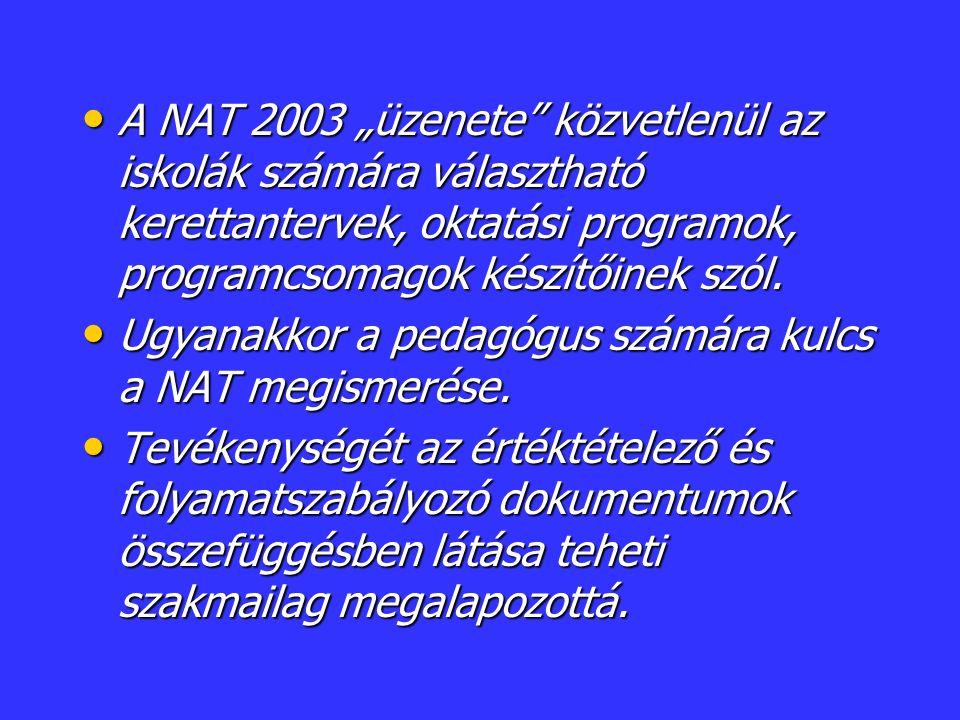 """A NAT 2003 """"üzenete közvetlenül az iskolák számára választható kerettantervek, oktatási programok, programcsomagok készítőinek szól."""