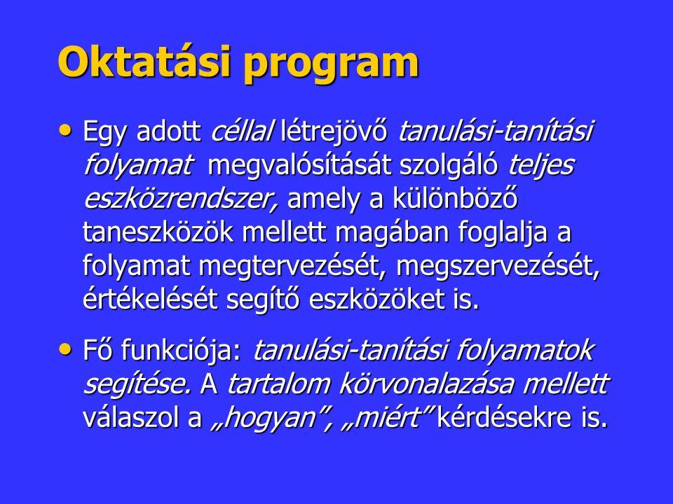 Oktatási program Egy adott céllal létrejövő tanulási-tanítási folyamat megvalósítását szolgáló teljes eszközrendszer, amely a különböző taneszközök mellett magában foglalja a folyamat megtervezését, megszervezését, értékelését segítő eszközöket is.