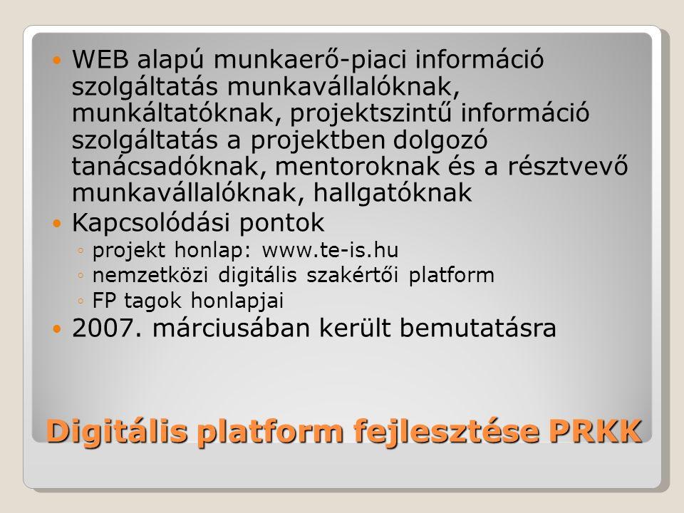 Digitális platform fejlesztése PRKK WEB alapú munkaerő-piaci információ szolgáltatás munkavállalóknak, munkáltatóknak, projektszintű információ szolgáltatás a projektben dolgozó tanácsadóknak, mentoroknak és a résztvevő munkavállalóknak, hallgatóknak Kapcsolódási pontok ◦projekt honlap: www.te-is.hu ◦nemzetközi digitális szakértői platform ◦FP tagok honlapjai 2007.