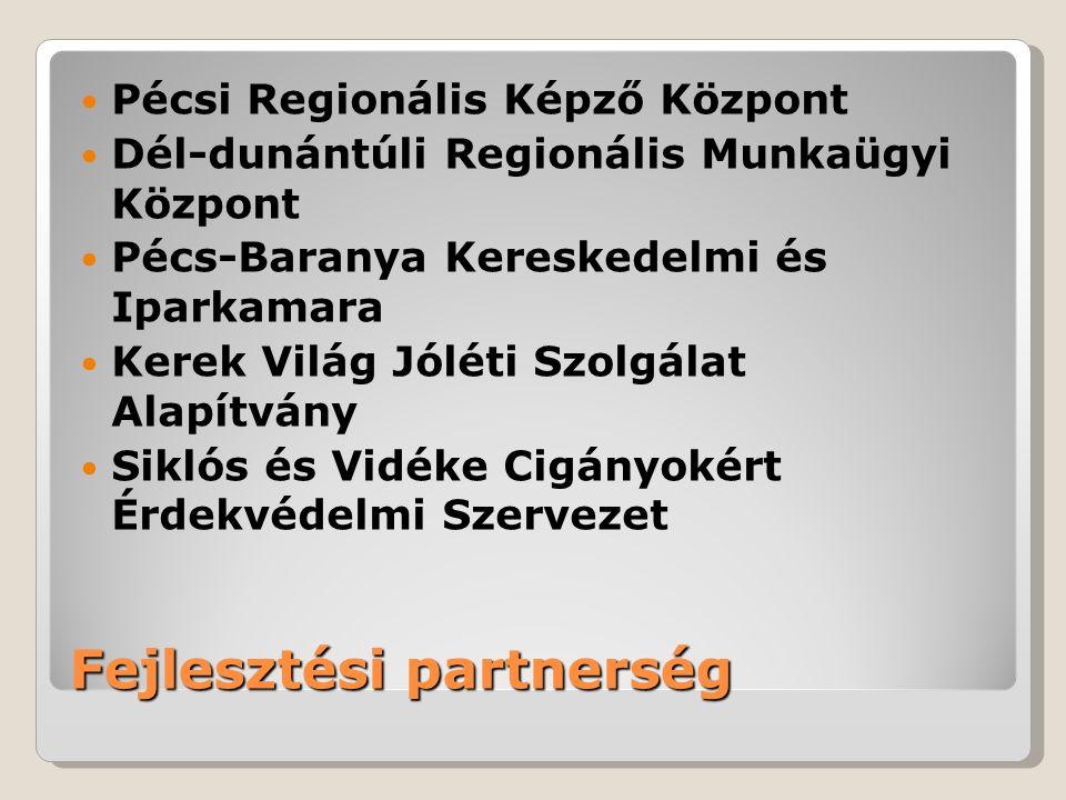 Fejlesztési partnerség Pécsi Regionális Képző Központ Dél-dunántúli Regionális Munkaügyi Központ Pécs-Baranya Kereskedelmi és Iparkamara Kerek Világ Jóléti Szolgálat Alapítvány Siklós és Vidéke Cigányokért Érdekvédelmi Szervezet