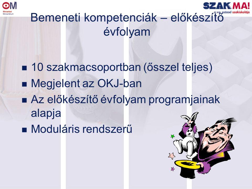 Bemeneti kompetenciák – előkészítő évfolyam n 10 szakmacsoportban (ősszel teljes) n Megjelent az OKJ-ban n Az előkészítő évfolyam programjainak alapja n Moduláris rendszerű