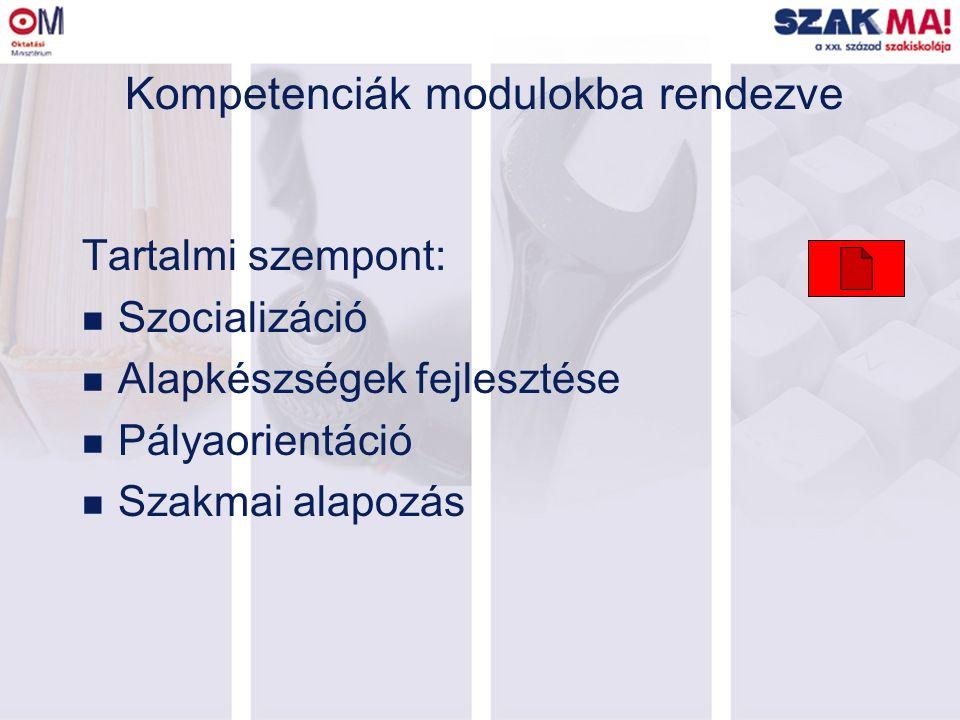 Kompetenciák modulokba rendezve Tartalmi szempont: n Szocializáció n Alapkészségek fejlesztése n Pályaorientáció n Szakmai alapozás