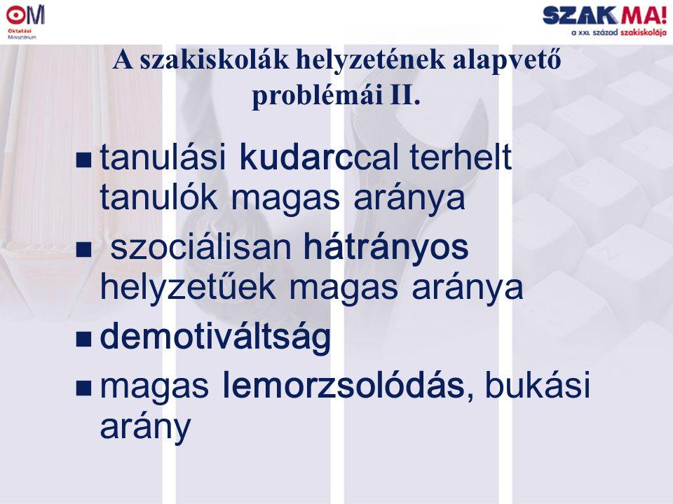A szakiskolák helyzetének alapvető problémái III.18.