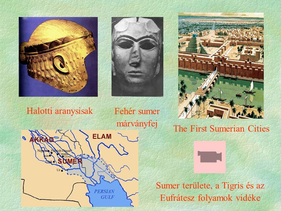 Halotti aranysisak The First Sumerian Cities Fehér sumer márványfej Sumer területe, a Tigris és az Eufrátesz folyamok vidéke