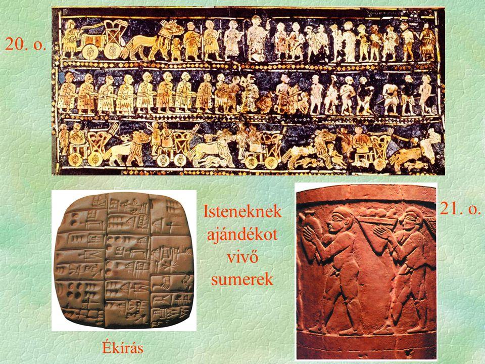 Ékírás 20. o. 21. o. Isteneknek ajándékot vivő sumerek