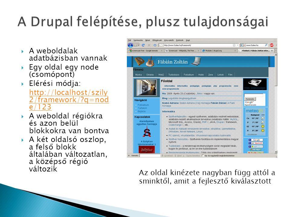  A weboldalak adatbázisban vannak  Egy oldal egy node (csomópont)  Elérési módja: http://localhost/szily 2/framework/ q=nod e/123  A weboldal régiókra és azon belül blokkokra van bontva  A két oldalsó oszlop, a felső blokk általában változatlan, a középső régió változik Az oldal kinézete nagyban függ attól a sminktől, amit a fejlesztő kiválasztott
