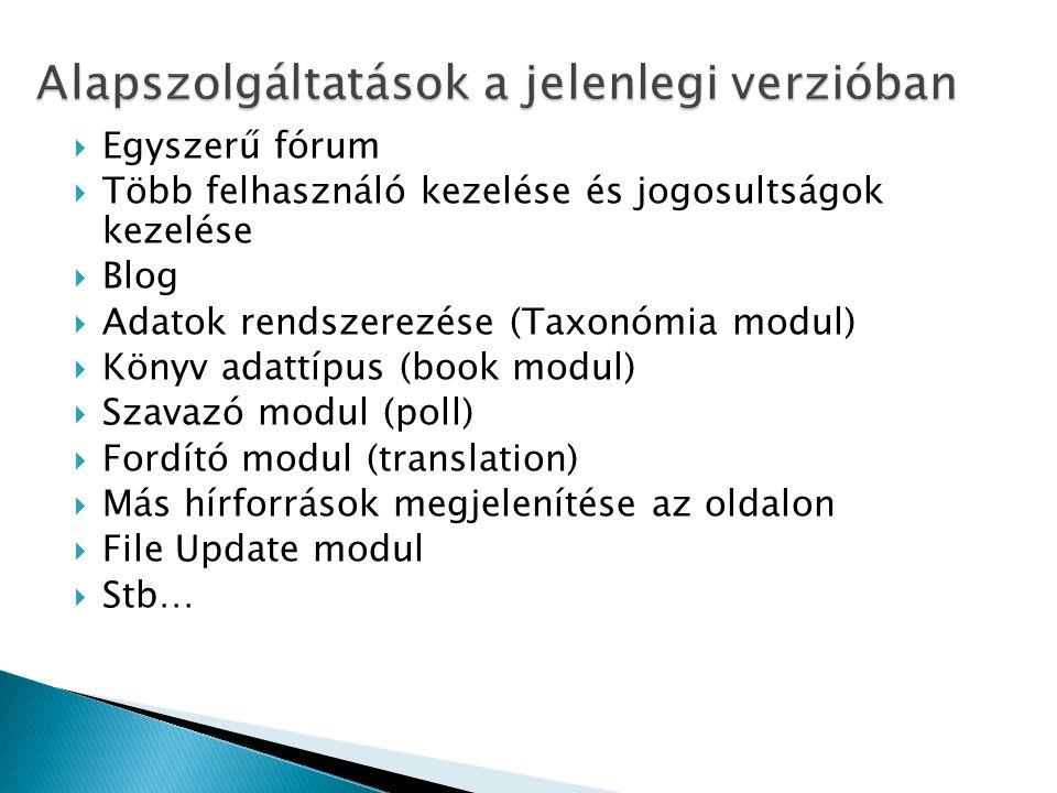  Egyszerű fórum  Több felhasználó kezelése és jogosultságok kezelése  Blog  Adatok rendszerezése (Taxonómia modul)  Könyv adattípus (book modul)  Szavazó modul (poll)  Fordító modul (translation)  Más hírforrások megjelenítése az oldalon  File Update modul  Stb…