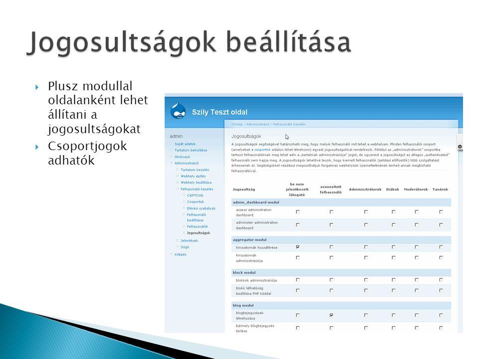  Plusz modullal oldalanként lehet állítani a jogosultságokat  Csoportjogok adhatók
