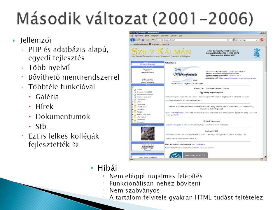 Jellemzői ◦ PHP és adatbázis alapú, egyedi fejlesztés ◦ Több nyelvű ◦ Bővíthető menürendszerrel ◦ Többféle funkcióval  Galéria  Hírek  Dokumentumok  Stb… ◦ Ezt is lelkes kollégák fejlesztették Hibái ◦ Nem eléggé rugalmas felépítés ◦ Funkcionálisan nehéz bővíteni ◦ Nem szabványos ◦ A tartalom felvitele gyakran HTML tudást feltételez