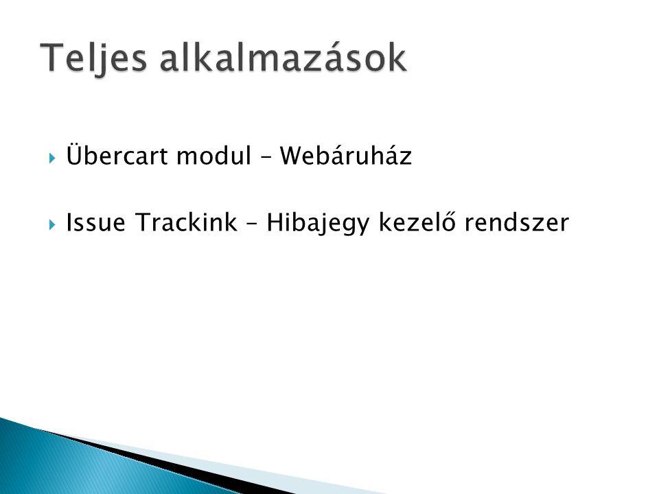  Übercart modul – Webáruház  Issue Trackink – Hibajegy kezelő rendszer