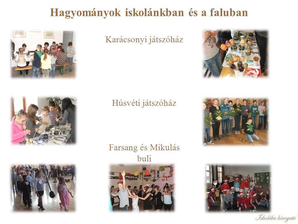 Iskolába hívogató Hagyományok iskolánkban és a faluban Karácsonyi játszóház Húsvéti játszóház Farsang és Mikulás buli
