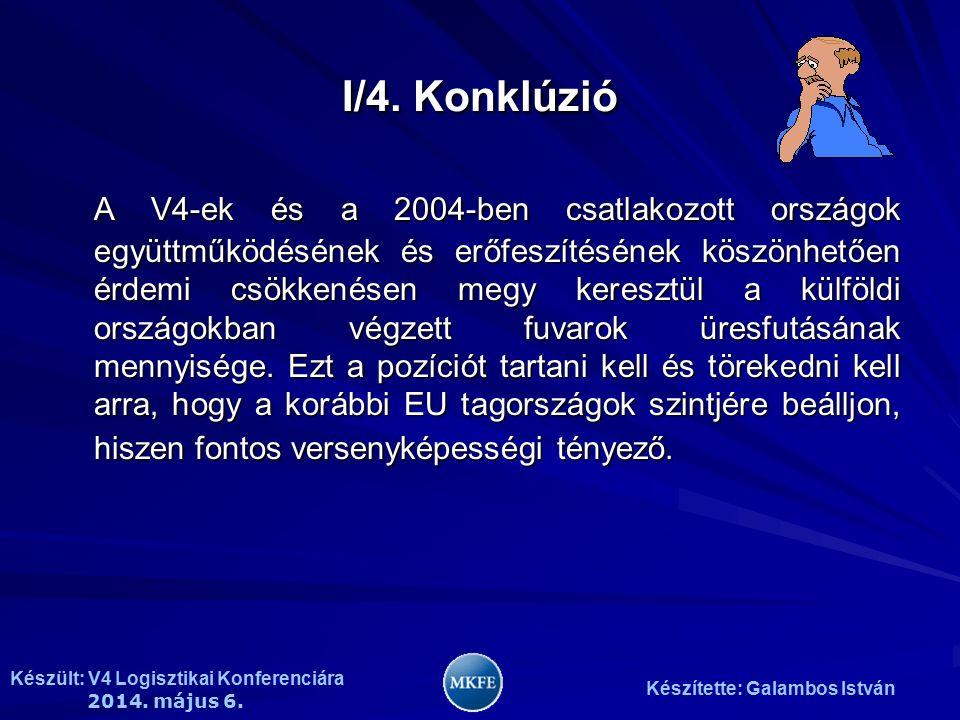 Készült: V4 Logisztikai Konferenciára 2014. május 6. Készítette: Galambos István I/4. Konklúzió A V4-ek és a 2004-ben csatlakozott országok együttműkö