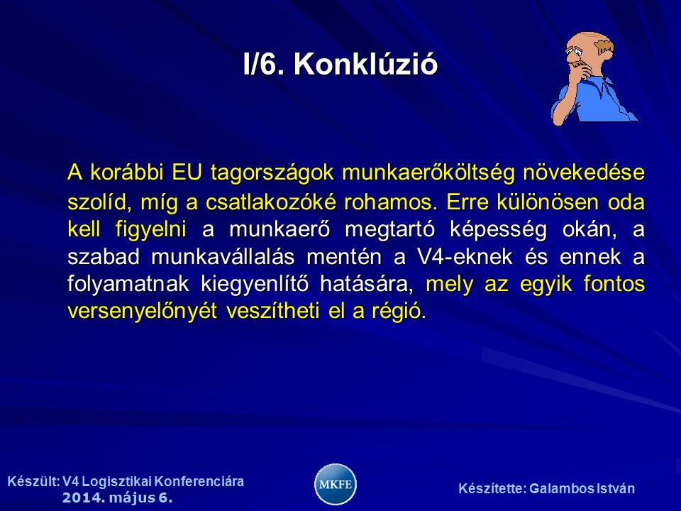 Készült: V4 Logisztikai Konferenciára 2014. május 6. Készítette: Galambos István I/6. Konklúzió A korábbi EU tagországok munkaerőköltség növekedése sz