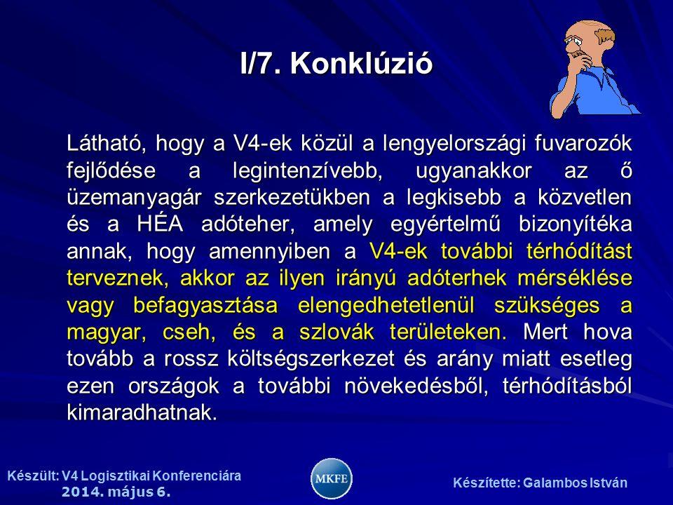 Készült: V4 Logisztikai Konferenciára 2014. május 6. Készítette: Galambos István I/7. Konklúzió Látható, hogy a V4-ek közül a lengyelországi fuvarozók