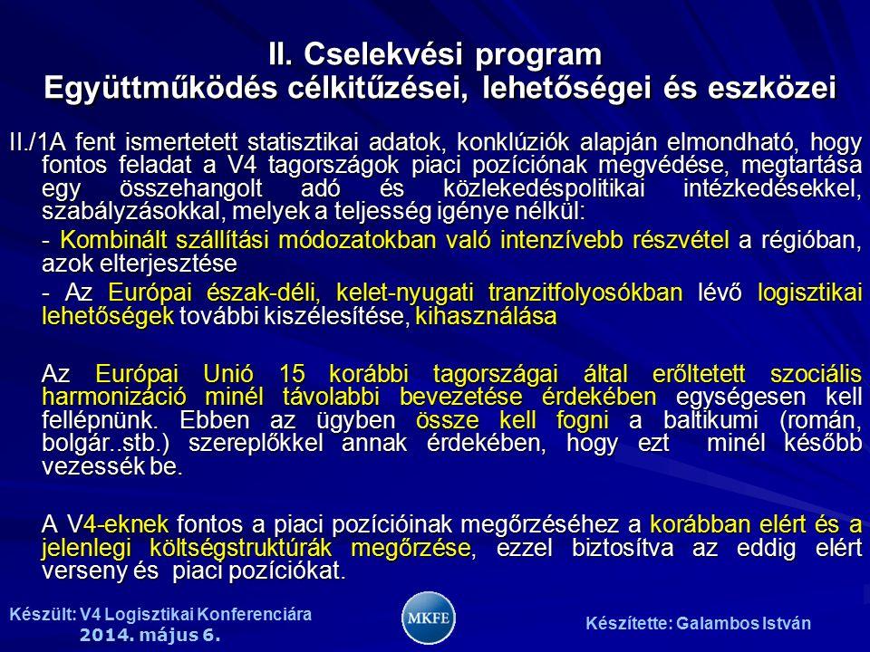 Készült: V4 Logisztikai Konferenciára 2014. május 6. Készítette: Galambos István II./1A fent ismertetett statisztikai adatok, konklúziók alapján elmon