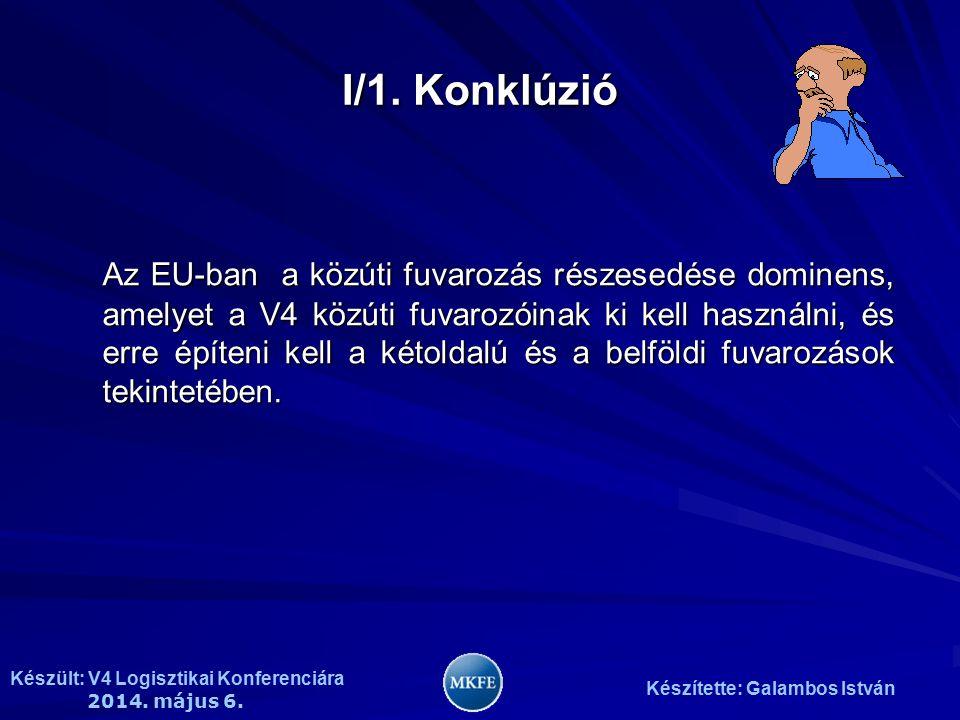 Készült: V4 Logisztikai Konferenciára 2014. május 6. Készítette: Galambos István I/1. Konklúzió Az EU-ban a közúti fuvarozás részesedése dominens, ame