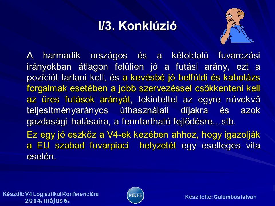 Készült: V4 Logisztikai Konferenciára 2014. május 6. Készítette: Galambos István I/3. Konklúzió A harmadik országos és a kétoldalú fuvarozási irányokb