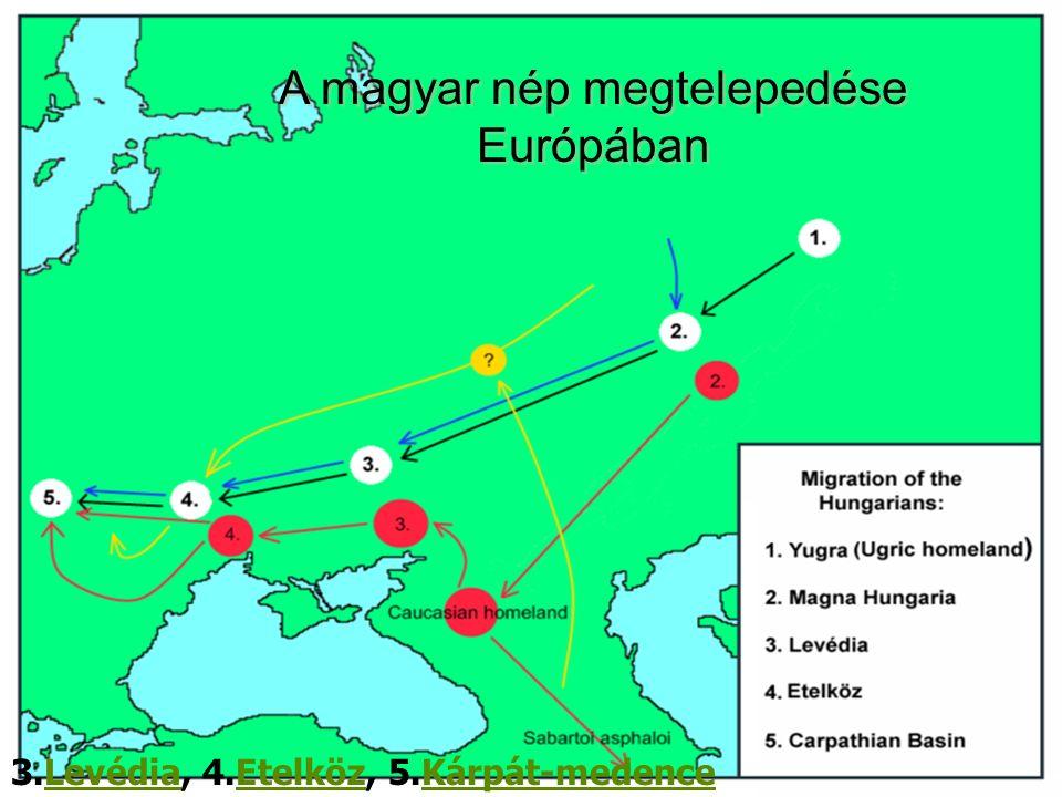 A magyar nép megtelepedése Európában 3.Levédia, 4.Etelköz, 5.Kárpát-medenceLevédiaEtelközKárpát-medence