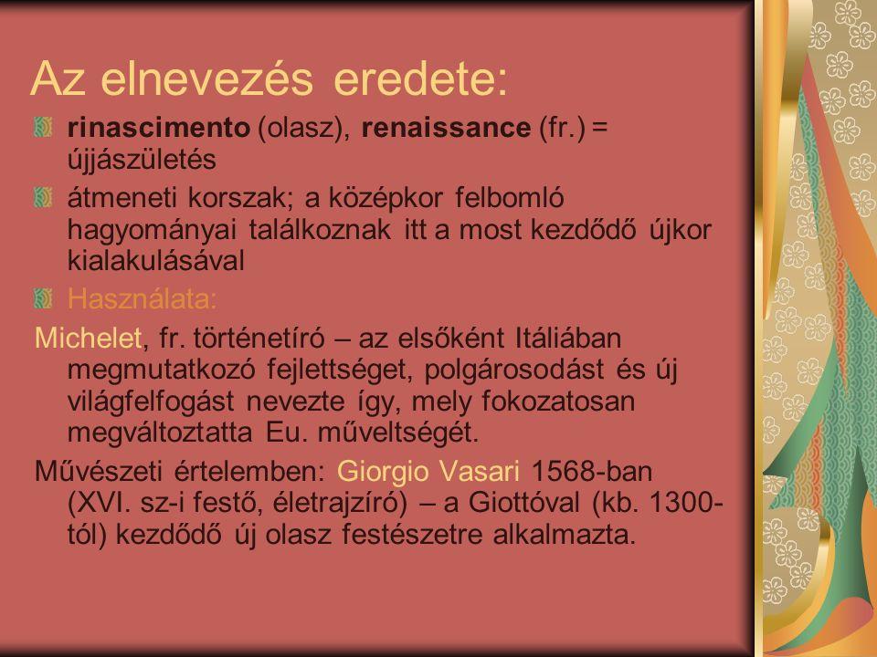 Az elnevezés eredete: rinascimento (olasz), renaissance (fr.) = újjászületés átmeneti korszak; a középkor felbomló hagyományai találkoznak itt a most kezdődő újkor kialakulásával Használata: Michelet, fr.