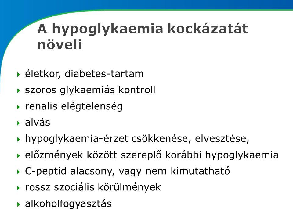  életkor, diabetes-tartam  szoros glykaemiás kontroll  renalis elégtelenség  alvás  hypoglykaemia-érzet csökkenése, elvesztése,  előzmények között szereplő korábbi hypoglykaemia  C-peptid alacsony, vagy nem kimutatható  rossz szociális körülmények  alkoholfogyasztás