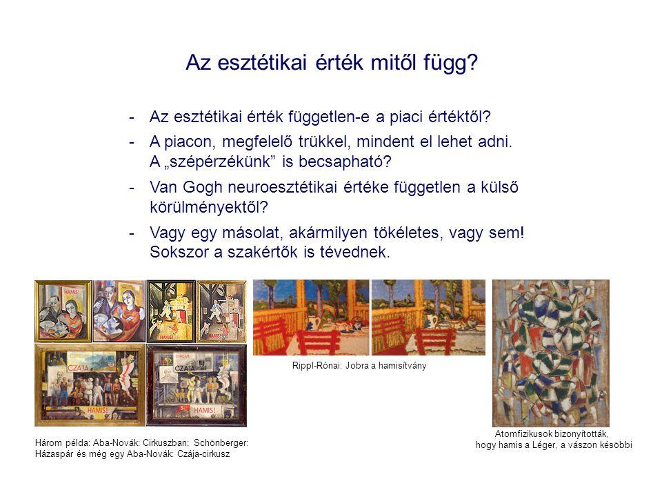 Az esztétikai érték mitől függ. -Az esztétikai érték független-e a piaci értéktől.
