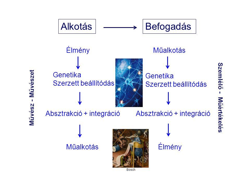 AlkotásBefogadás Genetika Szerzett beállítódás Absztrakció + integráció Műalkotás Genetika Szerzett beállítódás Absztrakció + integráció Élmény Művész - Művészet Szemlélő - Műértékelés Bosch