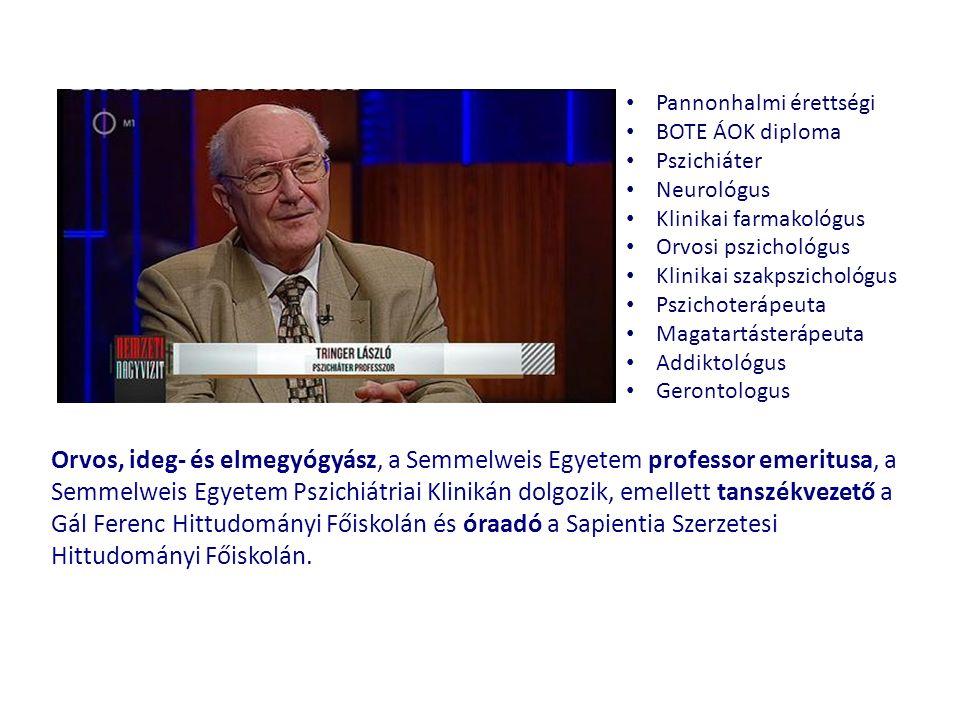 Orvos, ideg- és elmegyógyász, a Semmelweis Egyetem professor emeritusa, a Semmelweis Egyetem Pszichiátriai Klinikán dolgozik, emellett tanszékvezető a Gál Ferenc Hittudományi Főiskolán és óraadó a Sapientia Szerzetesi Hittudományi Főiskolán.