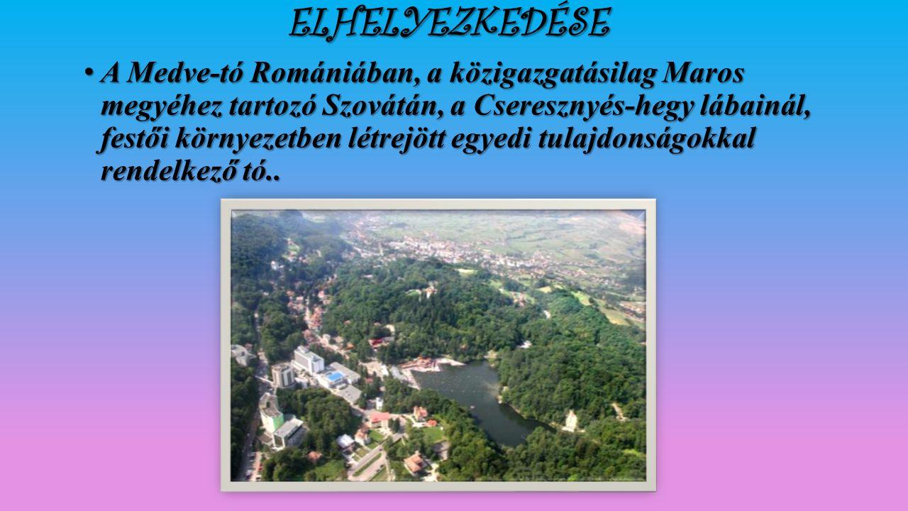 ELHELYEZKEDÉSE A Medve-tó Romániában, a közigazgatásilag Maros megyéhez tartozó Szovátán, a Cseresznyés-hegy lábainál, festői környezetben létrejött egyedi tulajdonságokkal rendelkező tó..A Medve-tó Romániában, a közigazgatásilag Maros megyéhez tartozó Szovátán, a Cseresznyés-hegy lábainál, festői környezetben létrejött egyedi tulajdonságokkal rendelkező tó..