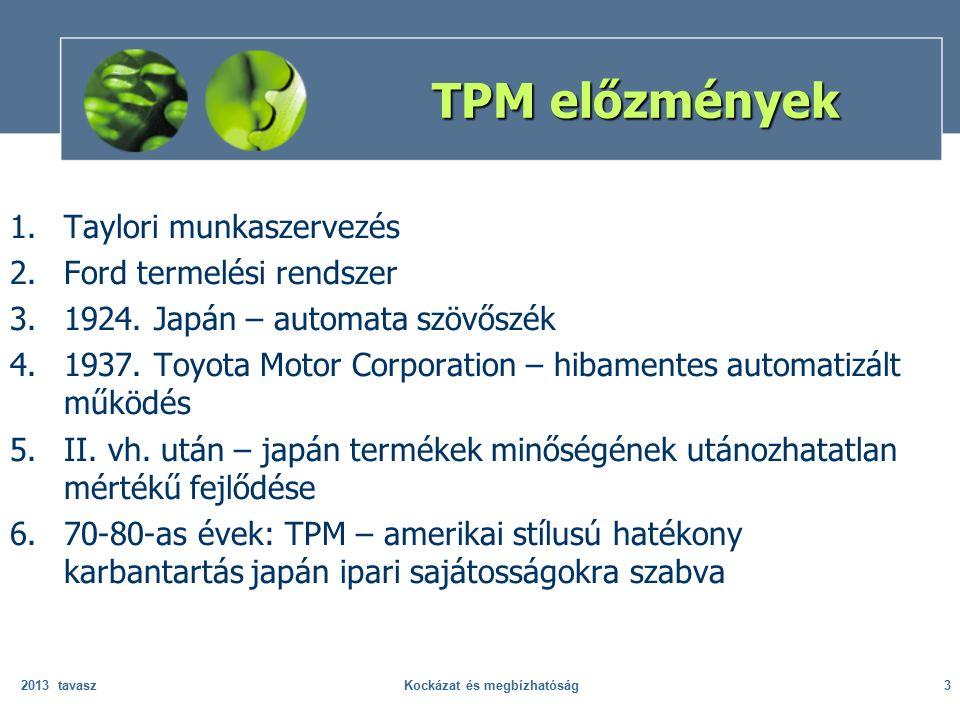 A Japan Institute of Plant Engineers 1971-ben a következő célokat kapcsolta a TPM-hez: a berendezések hatékonyságának maximalizálásán keresztül a gyártórendszer hatékonyságának növelése; a berendezések teljes életciklusát kísérő hatékony karbantartási rendszer alkalmazása; a TPM implementálásának folyamatába bevonni valamennyi érintett szervezeti egységet; az alkalmazottak aktív bevonása a szervezeti hierarchia minden szintjén; a szervezet motivációs rendszere alapjaiban támogassa a TPM alkalmazásokat: autonóm team munka.