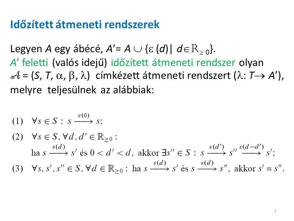 Időzített átmeneti rendszerek Legyen A egy ábécé, A'= A  {  (d)| d  R  0 }.