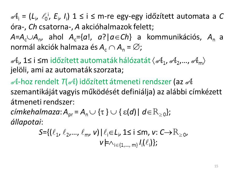 A i = (L i, 0 i, E i, I i ) 1 ≤ i ≤ m-re egy-egy időzített automata a C óra-, Ch csatorna-, A akcióhalmazok felett; A=A c  A n, ahol A c ={a!, a |a  Ch} a kommunikációs, A n a normál akciók halmaza és A c  A n =  ; A i, 1≤ i ≤m időzített automaták hálózatát  A 1, A 2,…, A m  jelöli, ami az automaták szorzata; A -hoz rendelt T( A ) időzített átmeneti rendszer (az A szemantikáját vagyis működését definiálja) az alábbi címkézett átmeneti rendszer: címkehalmaza: A pr = A n  {  }  {  (d)| d  R  0 }; állapotai: S={( 1, 2,…, m, v)| i  L i, 1≤ i ≤m, v: C  R  0, v|=  i  {1,…, m} I i ( i )}; 15