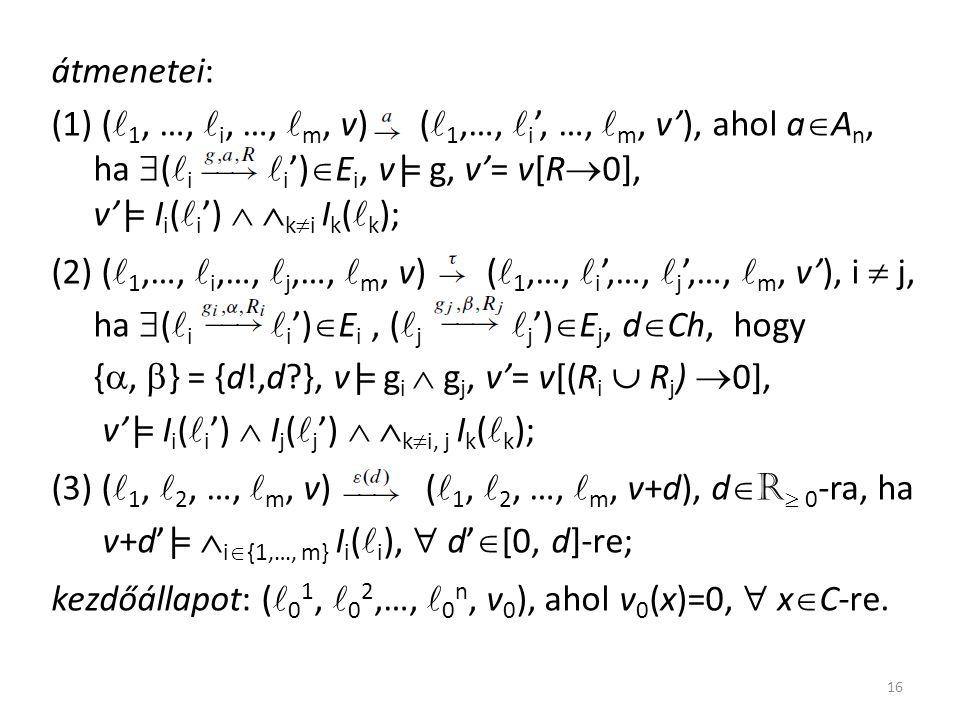 átmenetei: (1) ( 1, …, i, …, m, v) ( 1,…, i ', …, m, v'), ahol a  A n, ha  ( i i ')  E i, v|= g, v'= v[R  0], v'|= I i ( i ')   k  i I k ( k ); (2) ( 1,…, i,…, j,…, m, v) ( 1,…, i ',…, j ',…, m, v'), i  j, ha  ( i i ')  E i, ( j j ')  E j, d  Ch, hogy { ,  } = {d!,d }, v|= g i  g j, v'= v[(R i  R j )  0], v'|= I i ( i ')  I j ( j ')   k  i, j I k ( k ); (3) ( 1, 2, …, m, v) ( 1, 2, …, m, v+d), d  R  0 -ra, ha v+d'|=  i  {1,…, m} I i ( i ),  d'  [0, d]-re; kezdőállapot: ( 0 1, 0 2,…, 0 n, v 0 ), ahol v 0 (x)=0,  x  C-re.