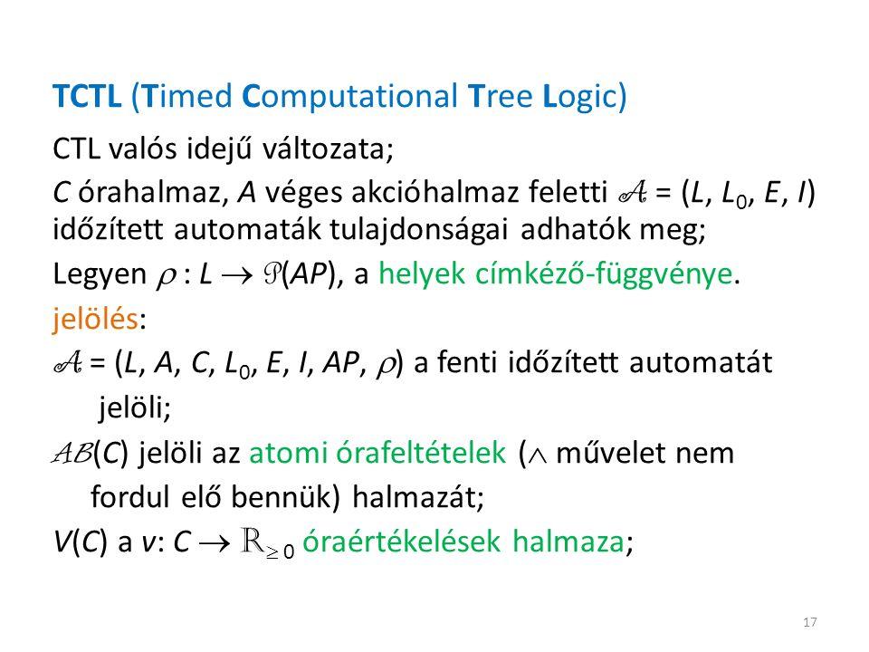 TCTL (Timed Computational Tree Logic) CTL valós idejű változata; C órahalmaz, A véges akcióhalmaz feletti A = (L, L 0, E, I) időzített automaták tulajdonságai adhatók meg; Legyen  : L  P (AP), a helyek címkéző-függvénye.