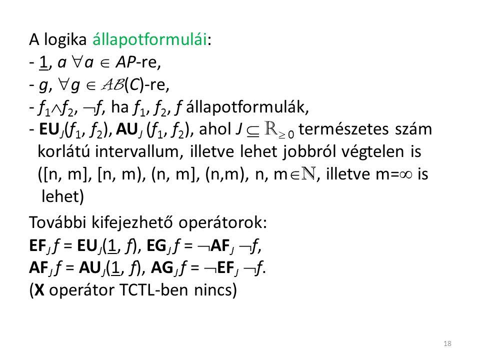 A logika állapotformulái: - 1, a  a  AP-re, - g,  g  AB (C)-re, - f 1  f 2,  f, ha f 1, f 2, f állapotformulák, - EU J (f 1, f 2 ), AU J (f 1, f 2 ), ahol J  R  0 természetes szám korlátú intervallum, illetve lehet jobbról végtelen is ([n, m], [n, m), (n, m], (n,m), n, m  N, illetve m=  is lehet) További kifejezhető operátorok: EF J f = EU J (1, f), EG J f =  AF J  f, AF J f = AU J (1, f), AG J f =  EF J  f.