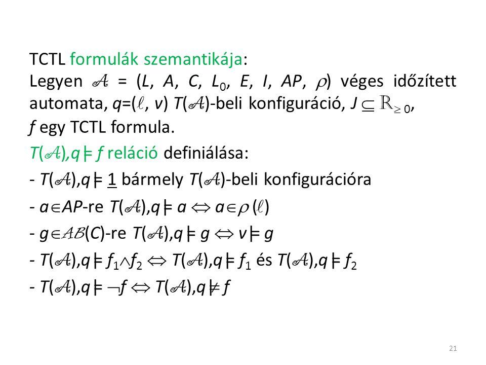TCTL formulák szemantikája: Legyen A = (L, A, C, L 0, E, I, AP,  ) véges időzített automata, q=(, v) T( A )-beli konfiguráció, J  R  0, f egy TCTL formula.