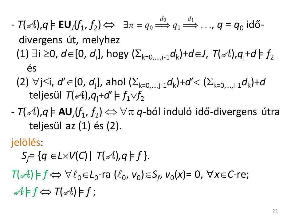 - T( A ),q |= EU J (f 1, f 2 ) , q = q 0 idő- divergens út, melyhez (1)  i  0, d  [0, d i ], hogy (  k=0,…,i-1 d k )+d  J, T( A ),q i +d |= f 2 és (2)  j  i, d'  [0, d j ], ahol (  k=0,…,j-1 d k )+d'  (  k=0,…,i-1 d k )+d teljesül T( A ),q j +d'|= f 1  f 2 - T( A ),q |= AU J (f 1, f 2 )   q-ból induló idő-divergens útra teljesül az (1) és (2).