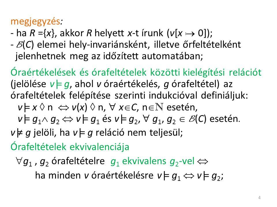 megjegyzés: - ha R ={x}, akkor R helyett x-t írunk (v[x |  0]); - B (C) elemei hely-invariánsként, illetve őrfeltételként jelenhetnek meg az időzített automatában; Óraértékelések és órafeltételek közötti kielégítési relációt (jelölése v|= g, ahol v óraértékelés, g órafeltétel) az órafeltételek felépítése szerinti indukcióval definiáljuk: v|= x  n  v(x)  n,  x  C, n  N esetén, v|= g 1  g 2  v|= g 1 és v|= g 2,  g 1, g 2  B (C) esetén.