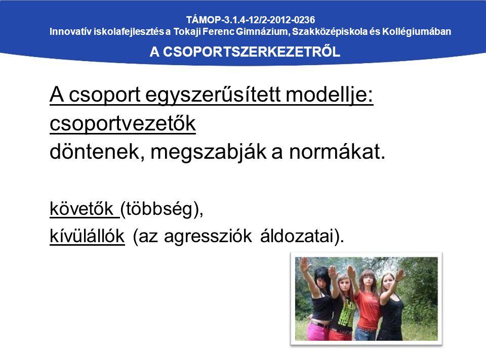 TÁMOP-3.1.4-12/2-2012-0236 Innovatív iskolafejlesztés a Tokaji Ferenc Gimnázium, Szakközépiskola és Kollégiumában A CSOPORTSZERKEZETRŐL A csoport egyszerűsített modellje: csoportvezetők döntenek, megszabják a normákat.